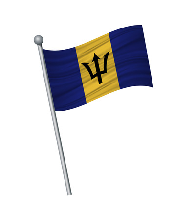 Barbados flag on the flagpole. Official colors and proportion correctly. waving of Barbados flag on flagpole, vector illustration isolate on white background.