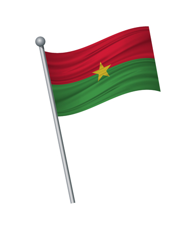 Burkina Faso flag on the flagpole. Official colors and proportion correctly. waving of Burkina Faso flag on flagpole, vector illustration isolate on white background.