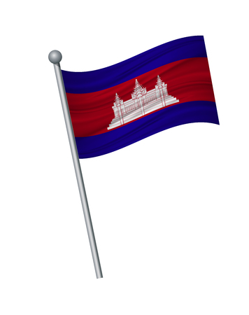 Drapeau du Cambodge sur le mât. Couleurs officielles et proportion correctement. brandissant le drapeau du Cambodge sur mât, illustration vectorielle isoler sur fond blanc.