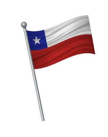 Chile flag on the flagpole. Official colors and proportion correctly. waving of Chile flag on flagpole, vector illustration isolate on white background.