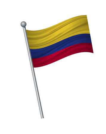 colombia flag on the flagpole. Official colors and proportion correctly. waving of colombia flag on flagpole, vector illustration isolate on white background.