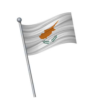 Cyprus flag on the flagpole. Official colors and proportion correctly. waving of Cyprus flag on flagpole, vector illustration isolate on white background. Ilustração