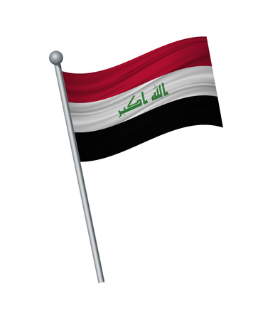 Iraq flag on the flagpole. Official colors and proportion correctly. waving of Iraq flag on flagpole, vector illustration isolate on white background.