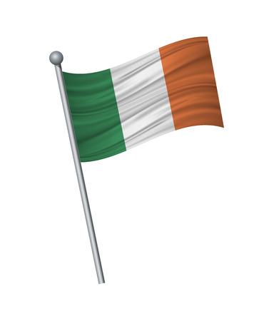 Ireland flag on the flagpole. Official colors and proportion correctly. waving of Ireland flag on flagpole, vector illustration isolate on white background. Illustration