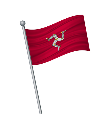 Isle of Man flag on the flagpole. Official colors and proportion correctly. waving of Isle of Man flag on flagpole, vector illustration isolate on white background.