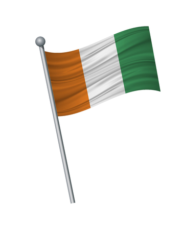 Ivory Coast flag on the flagpole. Official colors and proportion correctly. waving of Ivory Coast flag on flagpole, vector illustration isolate on white background.