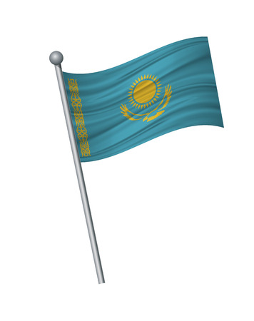 Kazakhstan flag on the flagpole. Official colors and proportion correctly. waving of Kazakhstan flag on flagpole, vector illustration isolate on white background.