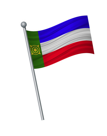 Khakassia flag on the flagpole. Official colors and proportion correctly. waving of Khakassia flag on flagpole, vector illustration isolate on white background.
