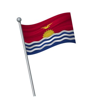Kiribati flag on the flagpole. Official colors and proportion correctly. waving of Kiribati flag on flagpole, vector illustration isolate on white background.