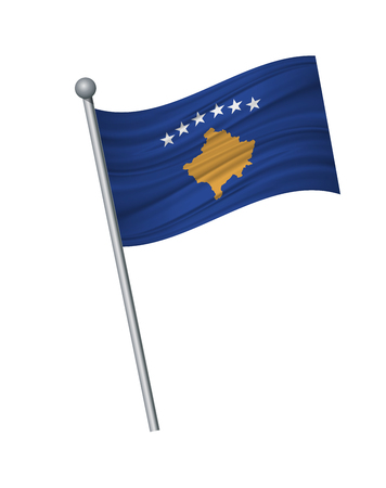 Kosovo flag on the flagpole. Official colors and proportion correctly. waving of Kosovo flag on flagpole, vector illustration isolate on white background. Illustration