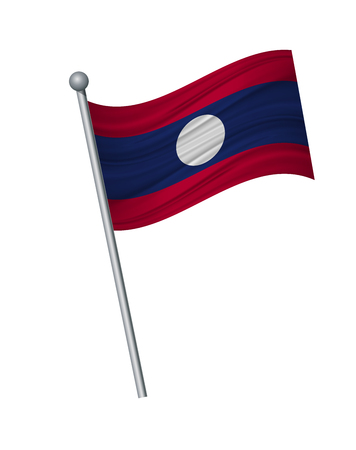 laos flag on the flagpole. Official colors and proportion correctly. waving of laos flag on flagpole, vector illustration isolate on white background.