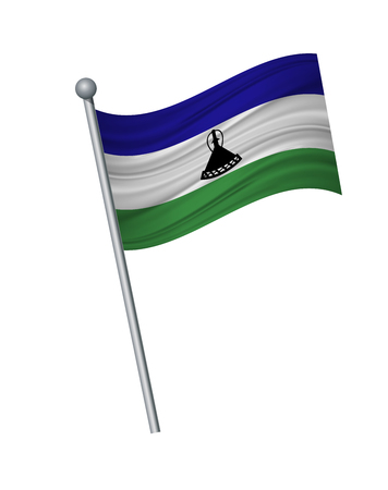 Lesotho flag on the flagpole. Official colors and proportion correctly. waving of Lesotho flag on flagpole, vector illustration isolate on white background.
