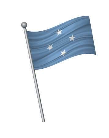 Micronesia flag on the flagpole. Official colors and proportion correctly. waving of Micronesia flag on flagpole, vector illustration isolate on white background.