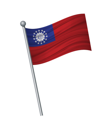 myanmar flag on the flagpole. Official colors and proportion correctly. waving of myanmar flag on flagpole, vector illustration isolate on white background. Illustration