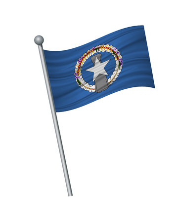 Northern Mariana Island flag on the flagpole. Official colors and proportion correctly. waving of Northern Mariana Island flag on flagpole, vector illustration isolate on white background. Illusztráció