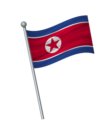 North Korea flag on the flagpole. Official colors and proportion correctly. waving of North Korea flag on flagpole, vector illustration isolate on white background.