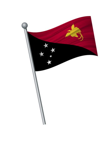 Papua New Guinea flag on the flagpole. Official colors and proportion correctly. waving of Papua New Guinea flag on flagpole, vector illustration isolate on white background.