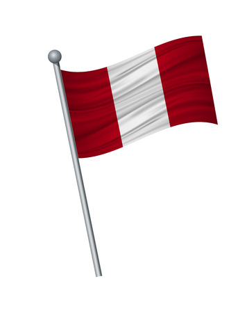 Peru flag on the flagpole. Official colors and proportion correctly. waving of Peru flag on flagpole, vector illustration isolate on white background.