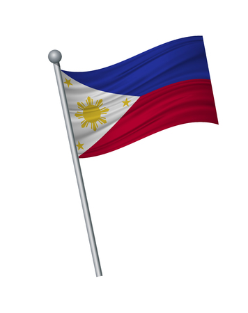 Philippines flag on the flagpole. Official colors and proportion correctly. waving of Philippines flag on flagpole, vector illustration isolate on white background. Vector Illustratie
