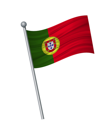 Portugal flag on the flagpole. Official colors and proportion correctly. waving of Portugal flag on flagpole, vector illustration isolate on white background. Illustration