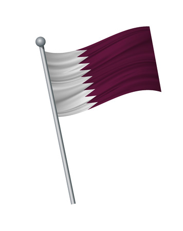 Qatar flag on the flagpole. Official colors and proportion correctly. waving of Qatar flag on flagpole, vector illustration isolate on white background.