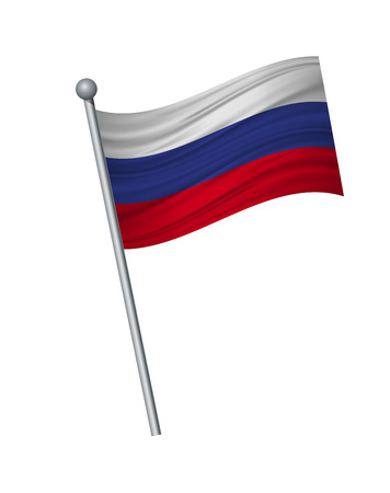 Russia flag on the flagpole. Official colors and proportion correctly. waving of Russia flag on flagpole, vector illustration isolate on white background.