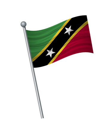 Saint Kitts and Nevis flag on the flagpole. Official colors and proportion correctly. waving of Saint Kitts and Nevis flag on flagpole, vector illustration isolate on white background. Illusztráció