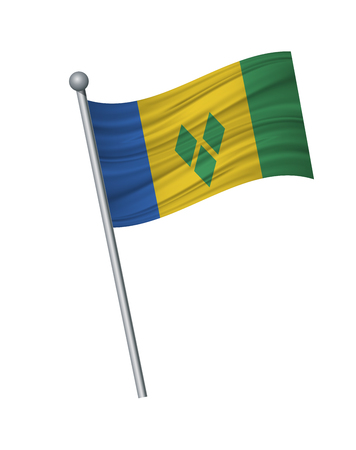 Saint Vincent and the Grenadines flag on the flagpole. Official colors and proportion correctly. waving of Saint Vincent and the Grenadines flag on flagpole, vector illustration isolate on white background.