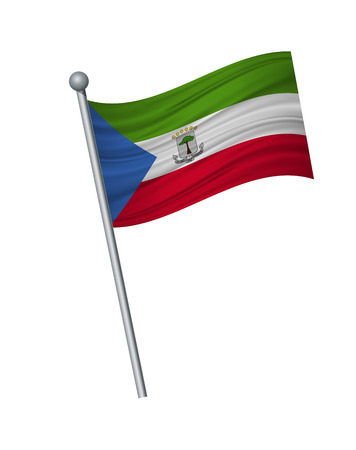 Equatorial Guinea flag on the flagpole. Official colors and proportion correctly. waving of Equatorial Guinea flag on flagpole, vector illustration isolate on white background. Illusztráció