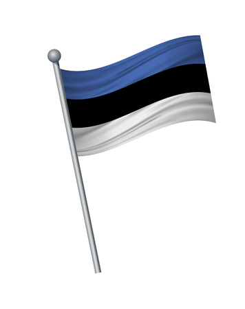 Estonia flag on the flagpole. Official colors and proportion correctly. waving of Estonia flag on flagpole, vector illustration isolate on white background.