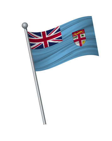 Fiji flag on the flagpole. Official colors and proportion correctly. waving of Fiji flag on flagpole, vector illustration isolate on white background. Illustration
