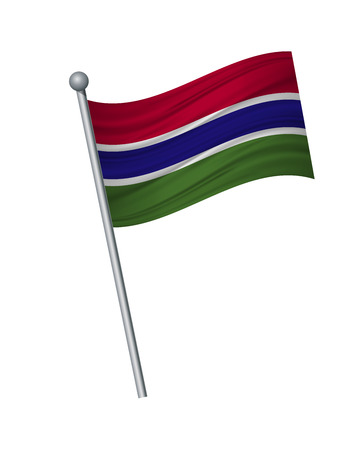 Gambia flag on the flagpole. Official colors and proportion correctly. waving of Gambia flag on flagpole, vector illustration isolate on white background.