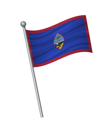 Guam flag on the flagpole. Official colors and proportion correctly. waving of Guam flag on flagpole, vector illustration isolate on white background.