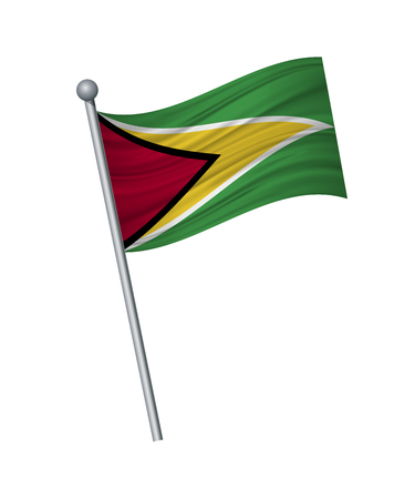 Guyana flag on the flagpole. Official colors and proportion correctly. waving of Guyana flag on flagpole, vector illustration isolate on white background.