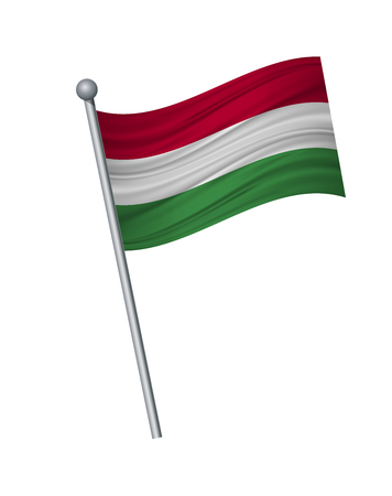 Hungary flag on the flagpole. Official colors and proportion correctly. waving of Hungary flag on flagpole, vector illustration isolate on white background.