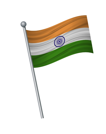 india flag on the flagpole. Official colors and proportion correctly. waving of india flag on flagpole, vector illustration isolate on white background. Illustration