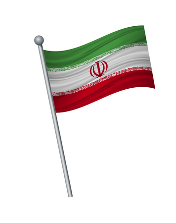 Iran flag on the flagpole. Official colors and proportion correctly. waving of Iran flag on flagpole, vector illustration isolate on white background.