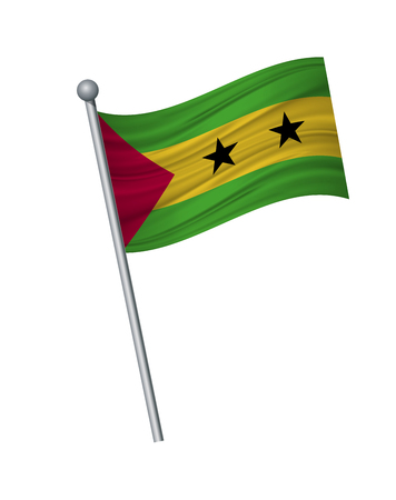 Sao Tome and Principe flag on the flagpole. Official colors and proportion correctly. waving of Sao Tome and Principe flag on flagpole, vector illustration isolate on white background.