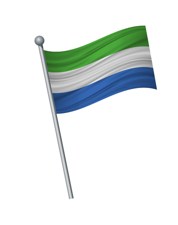 Sierra Leone flag on the flagpole. Official colors and proportion correctly. waving of Sierra Leone flag on flagpole, vector illustration isolate on white background.