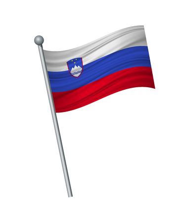 Slovakia flag on the flagpole. Official colors and proportion correctly. waving of Slovakia flag on flagpole, vector illustration isolate on white background.