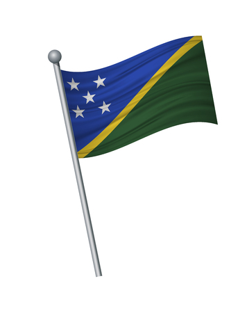 Solomon Islands flag on the flagpole. Official colors and proportion correctly. waving of Solomon Islands flag on flagpole, vector illustration isolate on white background. Ilustração