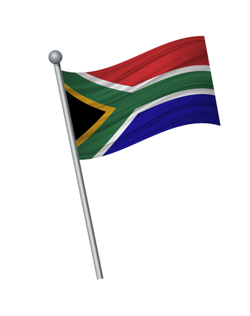 south african flag on the flagpole. Official colors and proportion correctly. waving of south african flag on flagpole, vector illustration isolate on white background. Ilustração Vetorial