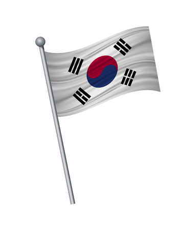 South Korea flag on the flagpole. Official colors and proportion correctly. waving of South Korea flag on flagpole, vector illustration isolate on white background. Illustration
