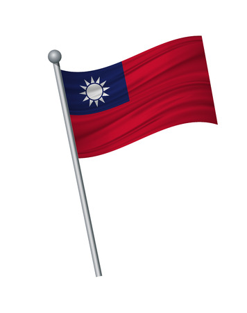 Taiwan flag on the flagpole. Official colors and proportion correctly. waving of Taiwan flag on flagpole, vector illustration isolate on white background. Illustration