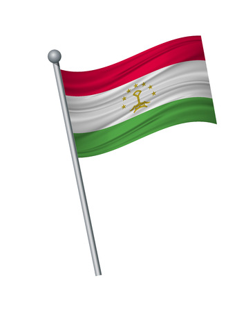tajikistan flag on the flagpole. Official colors and proportion correctly. waving of tajikistan flag on flagpole, vector illustration isolate on white background.