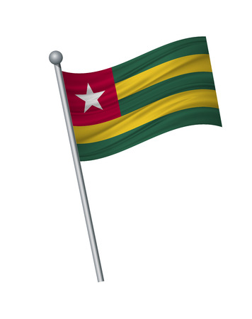 Togo flag on the flagpole. Official colors and proportion correctly. waving of Togo flag on flagpole, vector illustration isolate on white background.