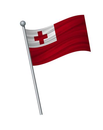Tonga flag on the flagpole. Official colors and proportion correctly. waving of Tonga flag on flagpole, vector illustration isolate on white background. Illustration