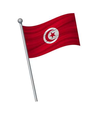 tunisia flag on the flagpole. Official colors and proportion correctly. waving of tunisia flag on flagpole, vector illustration isolate on white background.