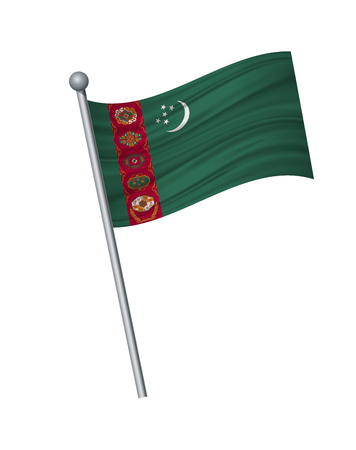 Turkmenistan flag on the flagpole. Official colors and proportion correctly. waving of Turkmenistan flag on flagpole, vector illustration isolate on white background. Illustration