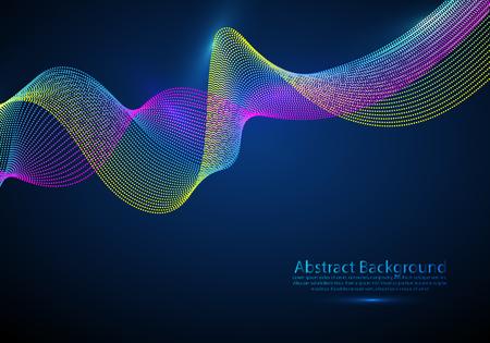Onda de matriz de malla de partículas 3d, sonido que fluye. Ilustración de efecto de vector de luces redondas borrosas. Estilo de tecnología futurista 3d.